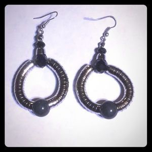 3/$15 silver toned and gray black earrings